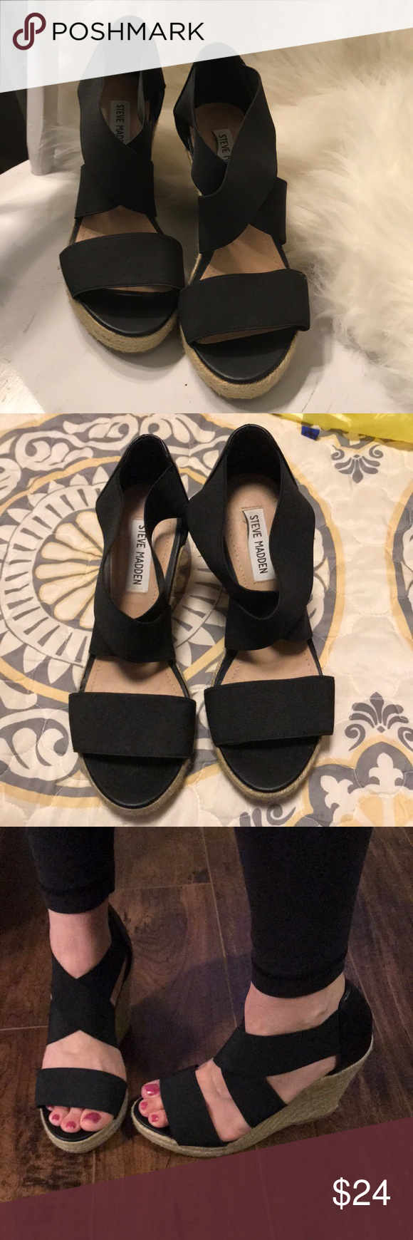 "3b47ea4dab Steve Madden black strap wedges see size Great used condition. Very minimal  wear. Size is worn off on inside. They measure 9.75"" from tip to tip and  I m ..."