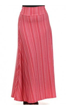 Womens Plus Size Striped A-Line Maxi Skirt! Apostolic Clothing #modest #skirts