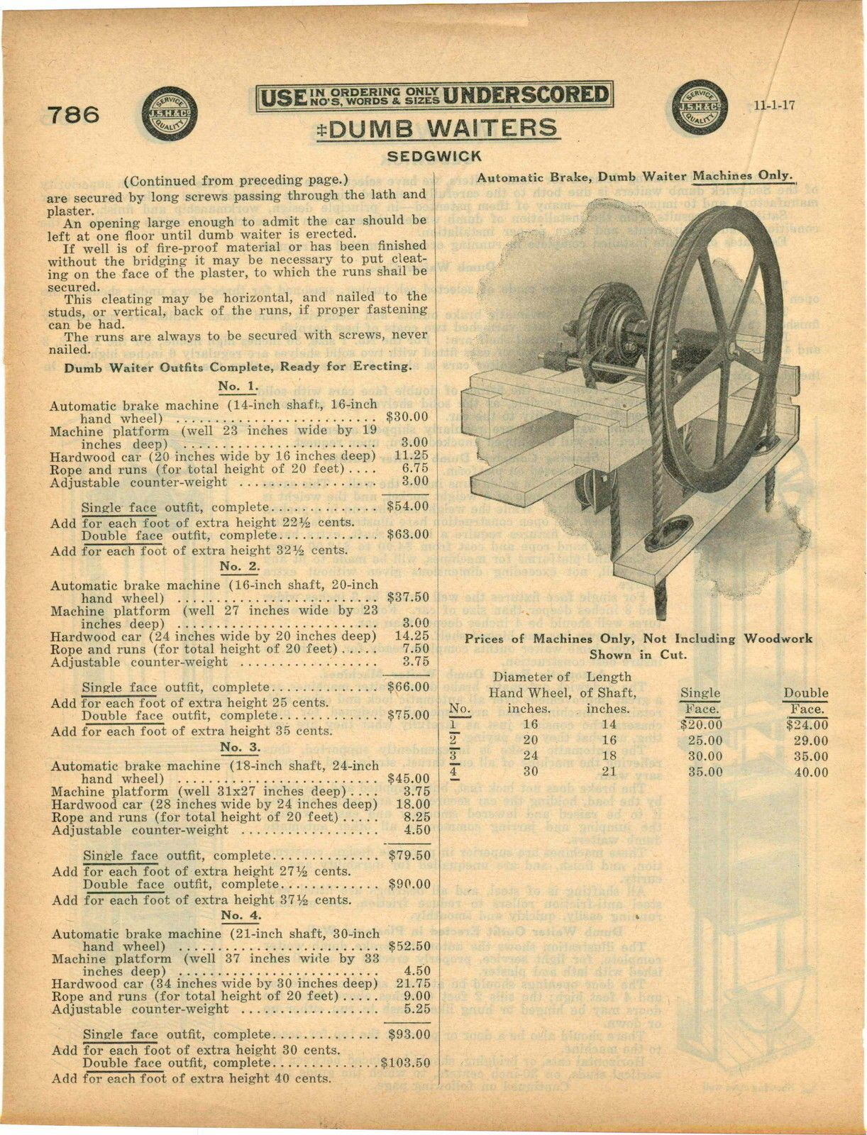 1917 Ad Sedgwick Dumb Waiters Cars Pulley Assembly Diagram Drawings | eBay