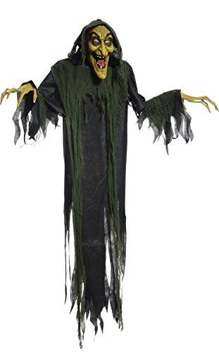 Hanging Witch 72 Inches Animated Halloween Prop Haunted House Yard - animated halloween decorations