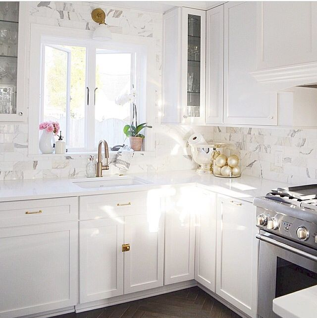 White Kitchen Cabinets With White Quartz: White Kitchen Cabinets, Brass Hardware, Marble Subway Tile