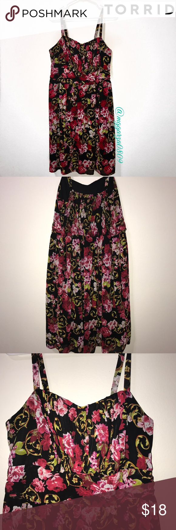 Torrid floral dress Size 2 or in Torrid sizes approx an 18/20 or 2X---spaghetti strap adjustable straps torrid Dresses