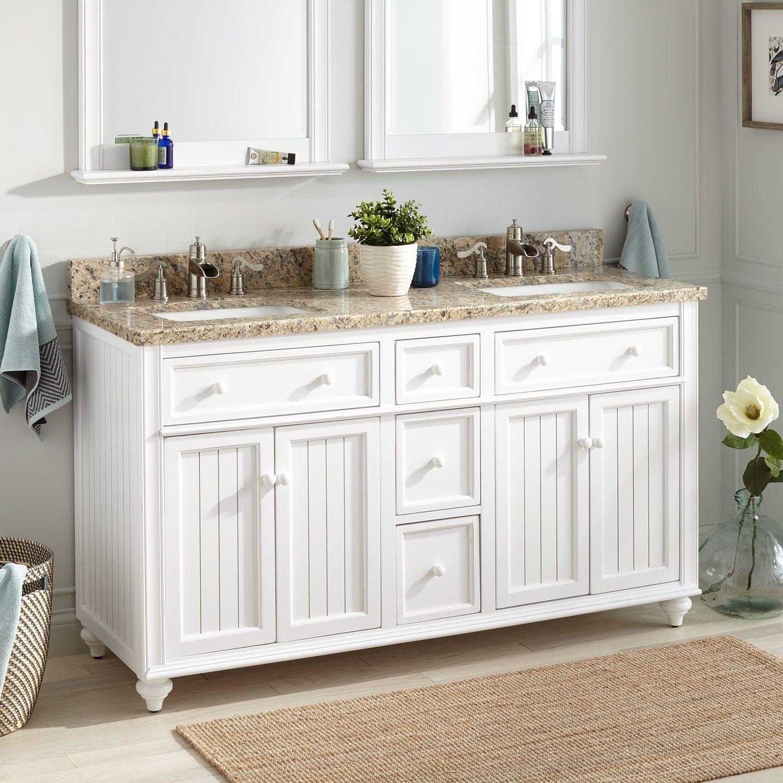 60 Cottage Retreat Double Vanity For Rectangular Undermount Sink White Double Vanity Bathroom Double Sink Vanity Double Vanity