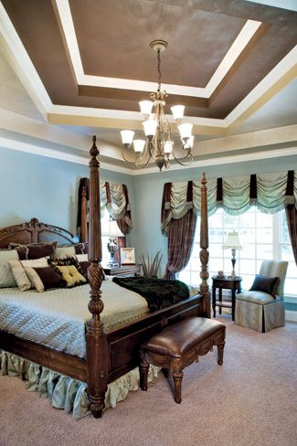 Master Bedroom - I like how they did this trey ceiling