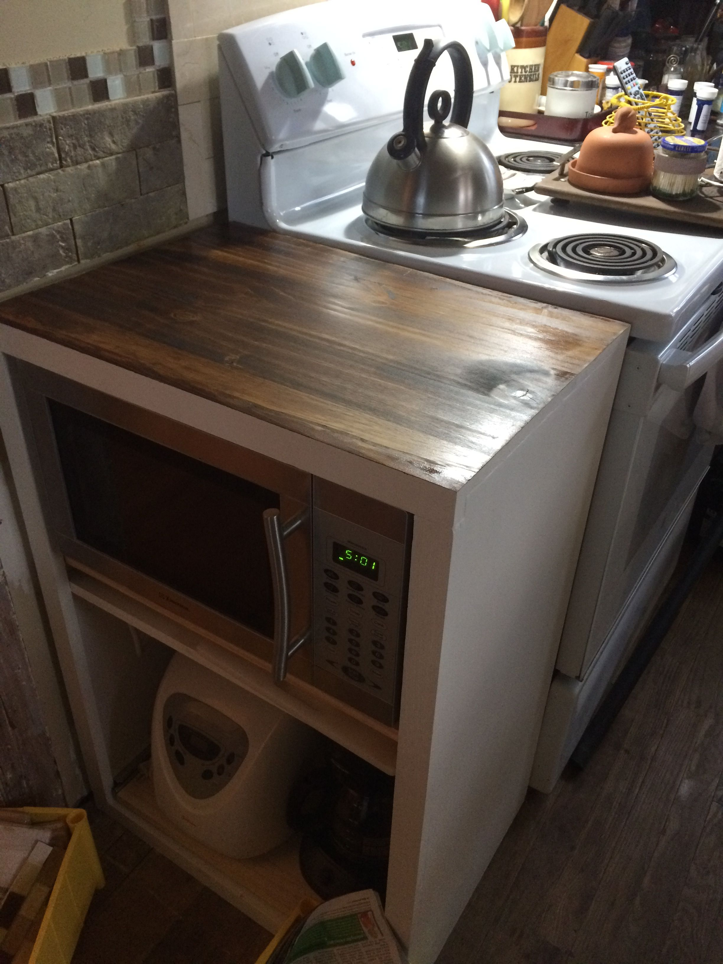 white microwave drawer home hideaway shipping with today wooden garden cart can stand free overstock product holder kitchen trash