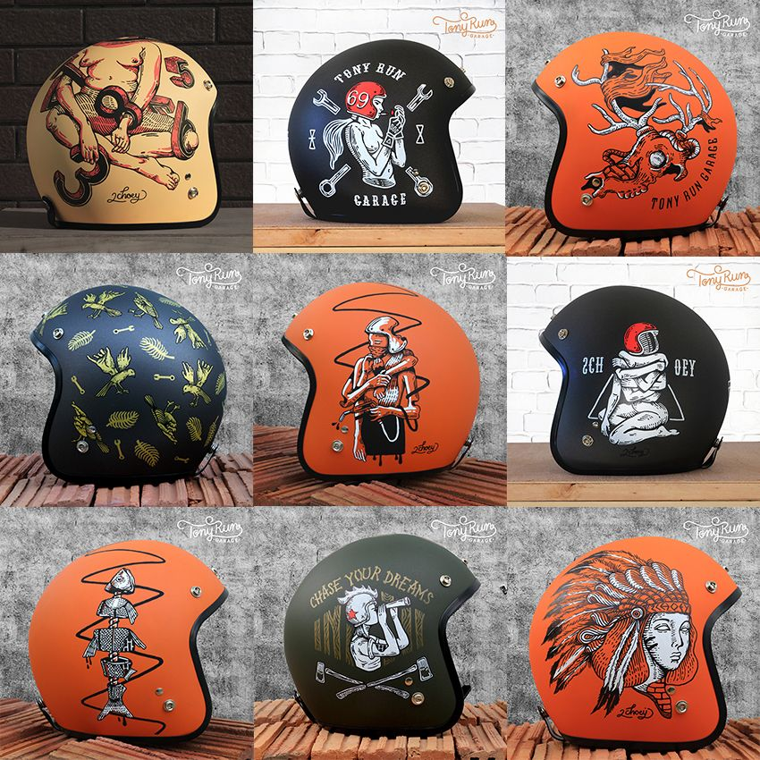 Helmets Painting Collection On Behance Motorcycle Helmets Motorcycle Helmet Design Motorcycle Helmets Vintage