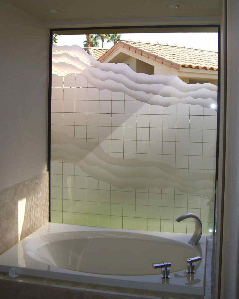 Etched glass windows provide great privacy sans soucie art glass - Squares Waves Glass Window Etched Square Wave Pattern By Sans Soucie Art Glass