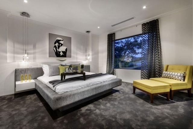 modernes schlafzimmer anthrazit teppichboden weie wnde pendelleuchten gelbe akzente - Modernes Schlafzimmer