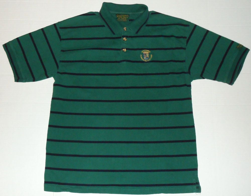 a0e9f6c9d61 OLD COURSE St Andrews Scotland Men s Green Striped Golf Polo Shirt L LARGE  Logo  StAndrews  PoloRugby