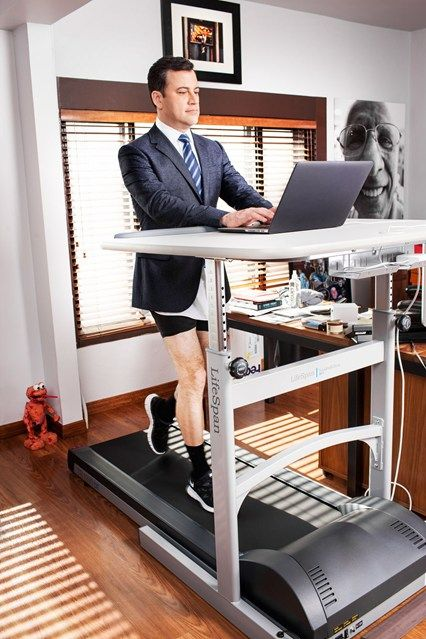 Jimmy Kimmel using his LifeSpan Treadmill Desk httpwww