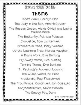Mentor Text List for Reading Strategies: Literature