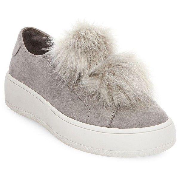 Steve Madden Bryanne Faux Fur Slip-On Sneakers ($89) ❤ liked on Polyvore