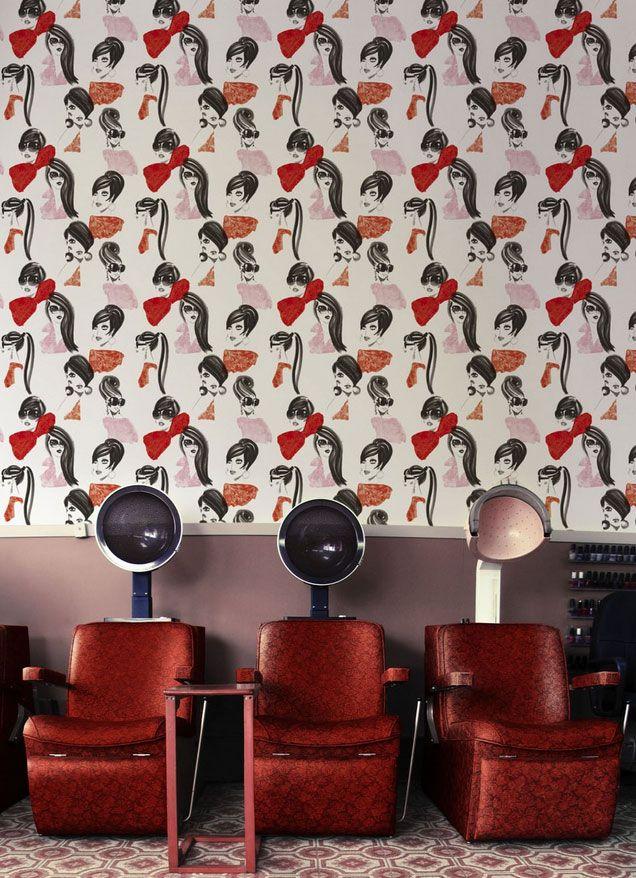 Could wallpaper behind hair dryers... | Home salon, Home ...  |Beauty Salon Wallpaper Designs