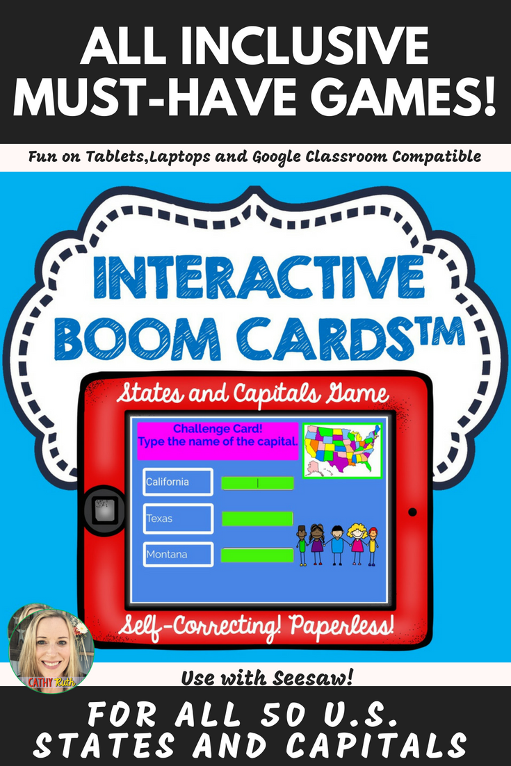 U.S. States and Capitals Boom Cards, Geography, Maps, Games | Cathy ...