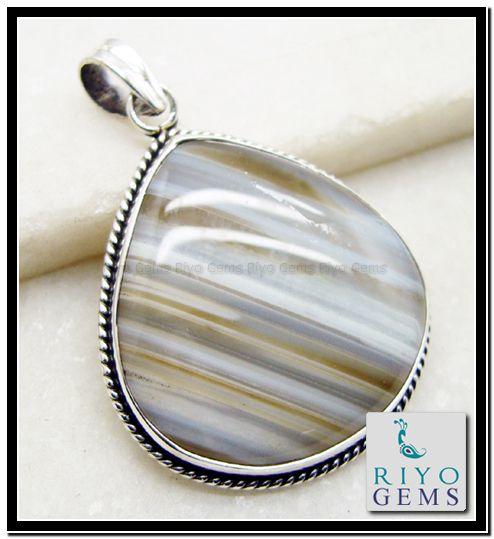 Banded Agate Gemstone Pendant Necklace in 925 Sterling Silver Design