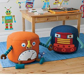 robot poufs super cute and fun seat for toddlers nursery ideas for chickpea pinterest. Black Bedroom Furniture Sets. Home Design Ideas