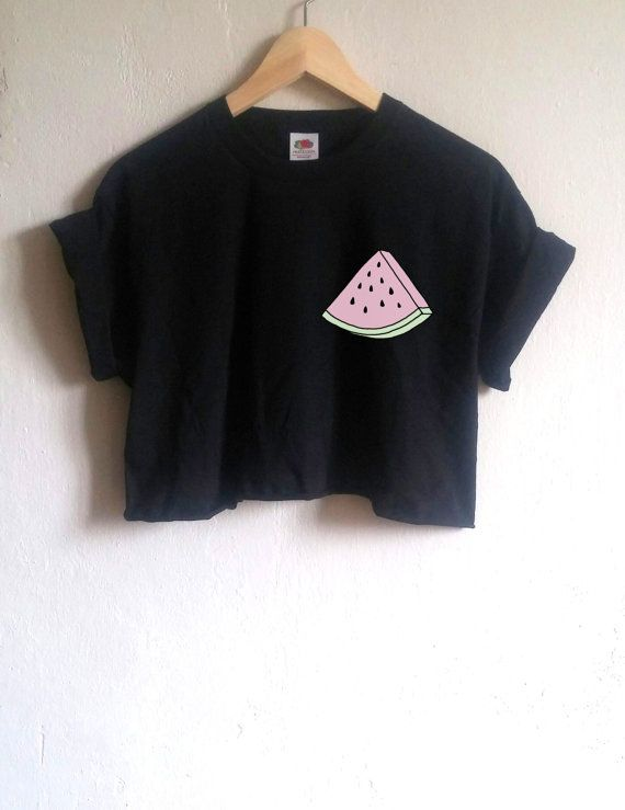 cbffff7edcb7f Organic Cotton Tee, Watermelon Tumblr Crop Top/Shirt, pastel goth ...
