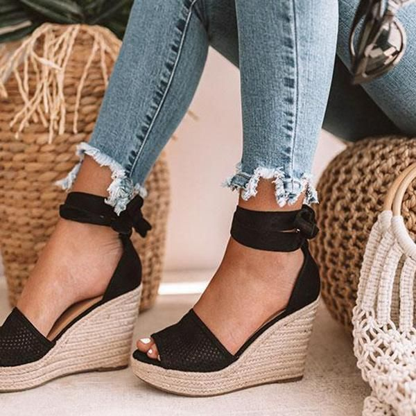 Kakimoda Espadrille Lace Up Wedge Braided Sandals
