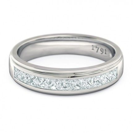 1791 Princess Women's Wedding Band in 18kt White Gold AU - Top View