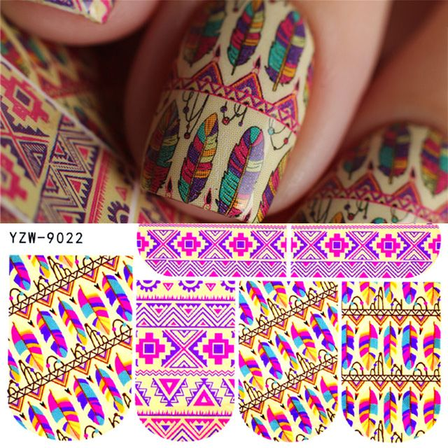 Zko 1 Sheet Nail Art Decoration Water Stickers Rainbow Color Feather