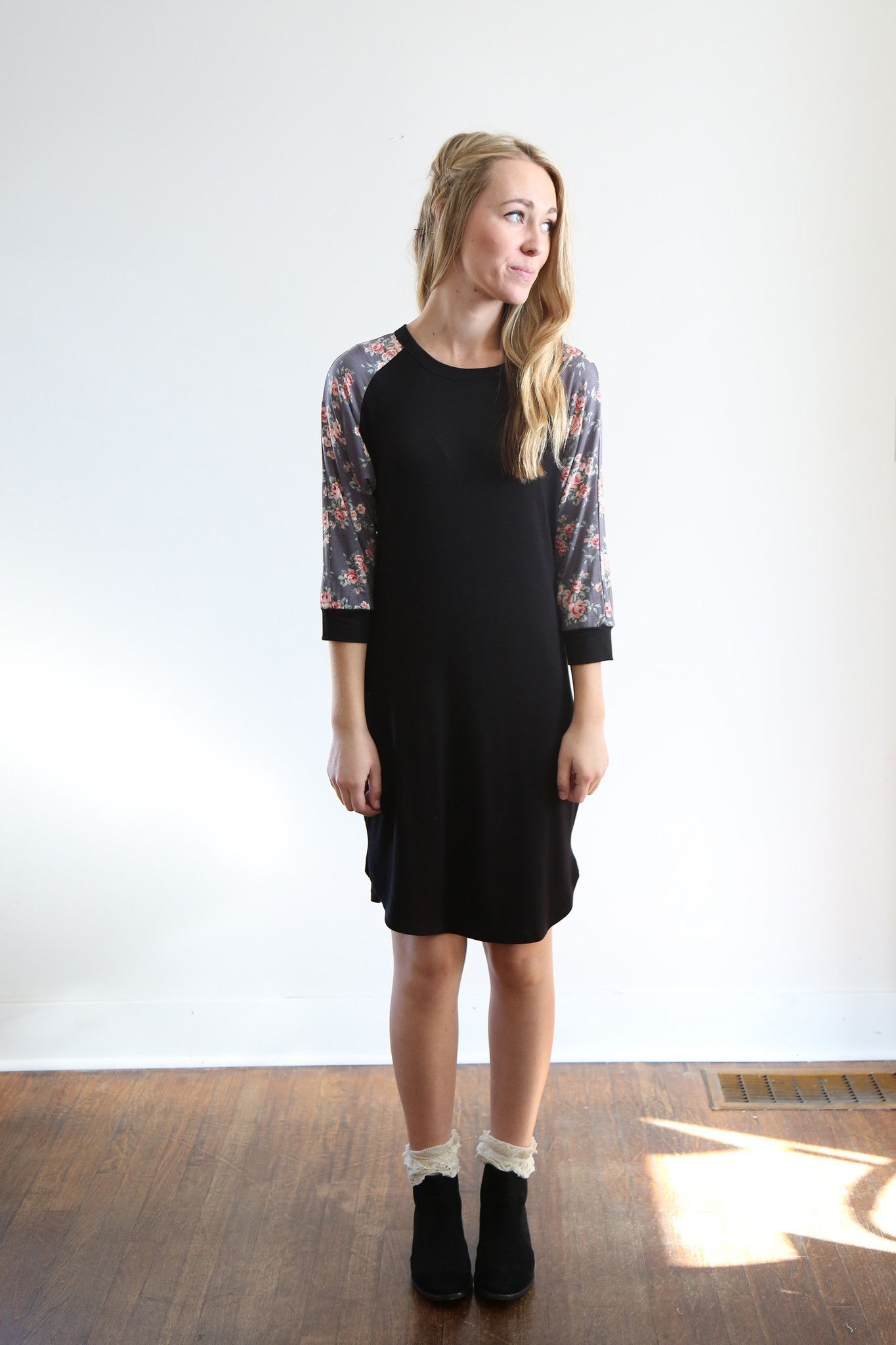 The Floral Baseball Sweater Dress in Black