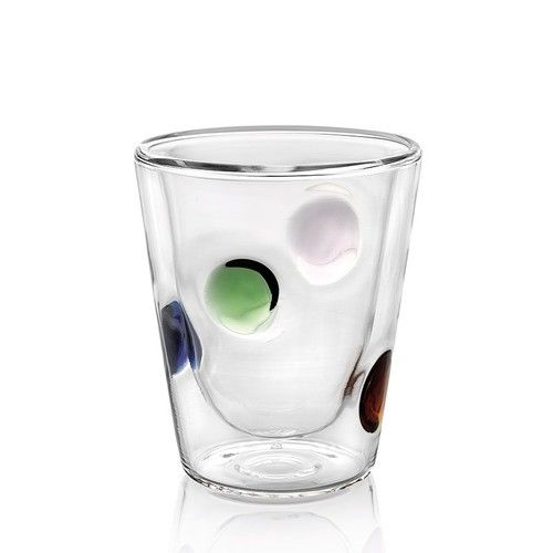 Creativity meets practicality with these handblown double cased glass mugs. Perfect for both hot and cold beverages. $27 for set of 2. Shop the rest of IVV's Dots collection at http://www.giardinidisole.com/shop-glassware/