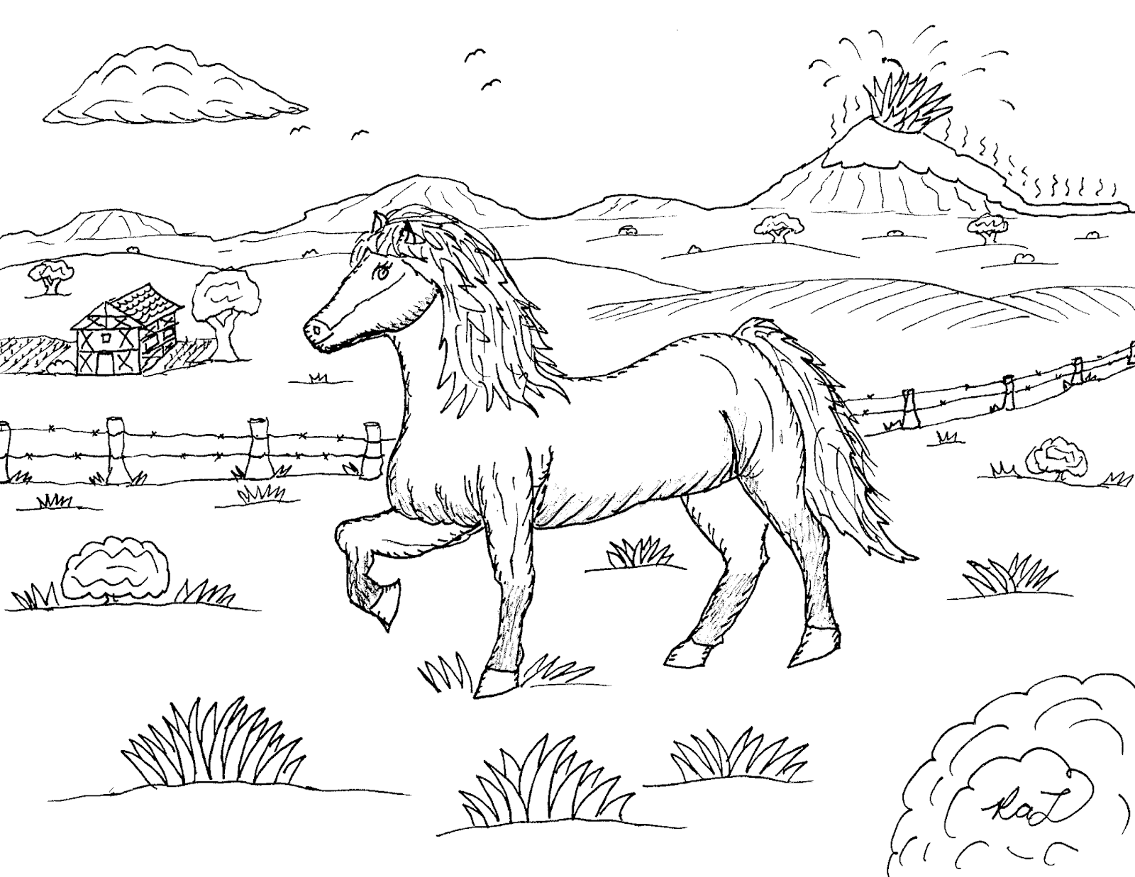 Icelandic Pony Tolting Horse Outline Icelandic Horse Horse Drawing