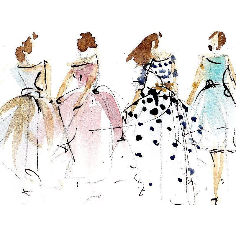 Reve De Petite Fille Watercolorsketch Fashionillustration