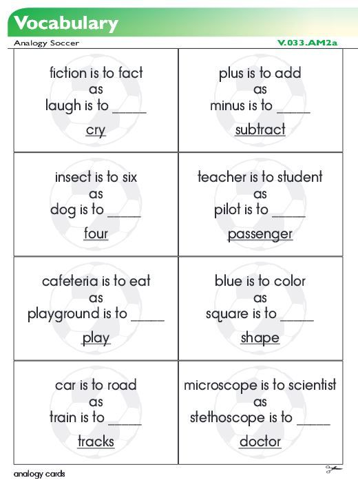 Analogy Game Students Use These Cards With A Soccer Theme To