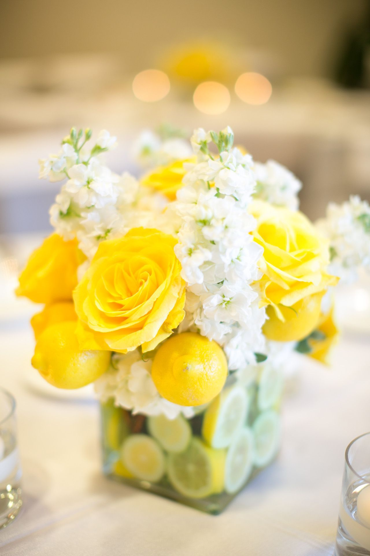 Yellow Wedding Reception Flowers