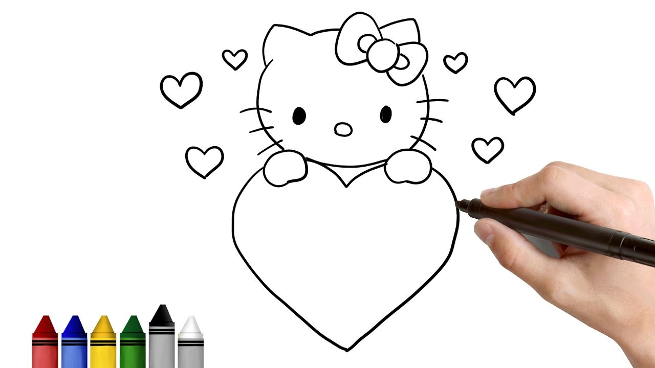 How To Draw Hello Kitty For Valentine S Day Drawing For Kids Tutorial Hello Kitty Drawing Valentines Day Drawing Valentine Drawing