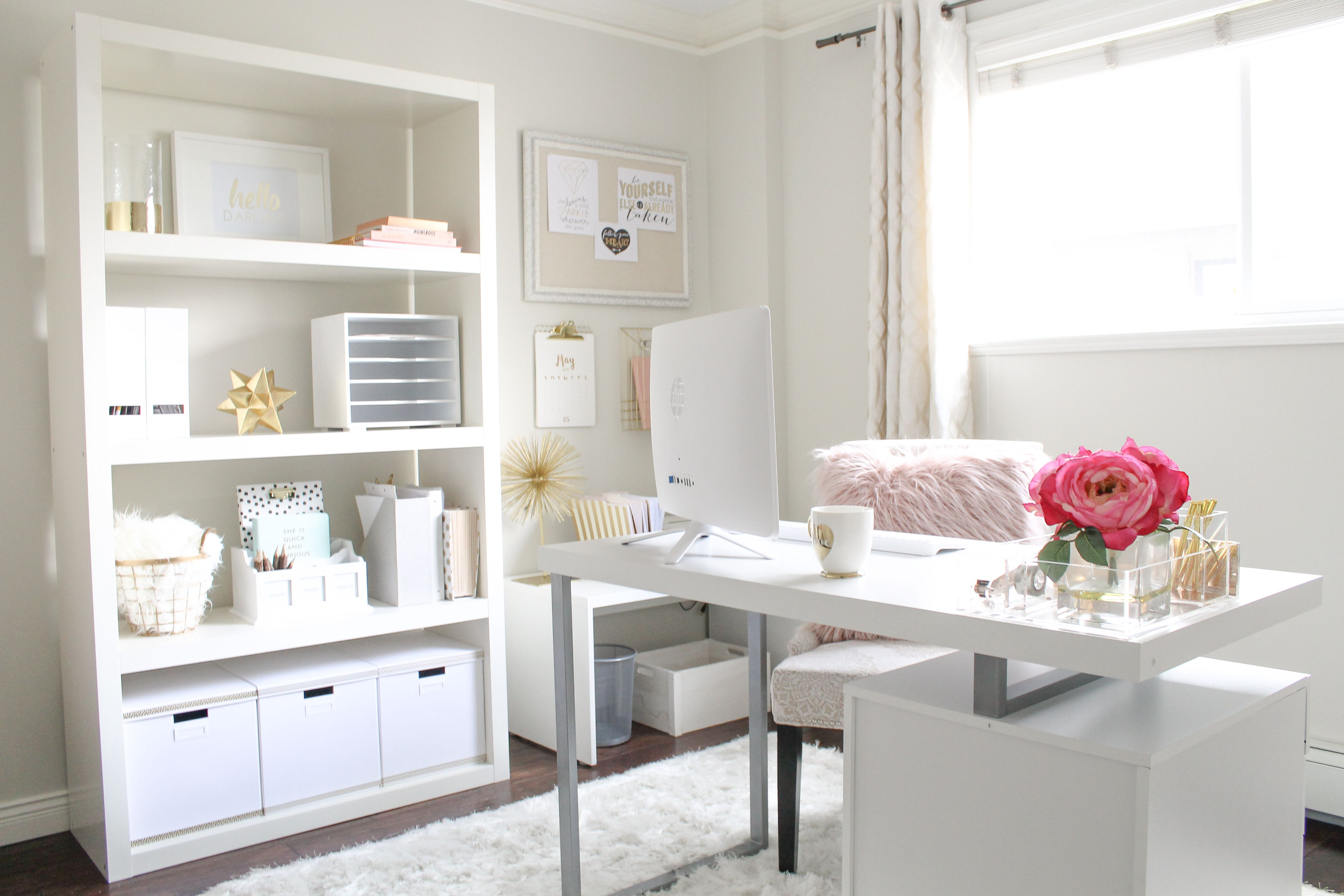 pretty home office, stylish home office, feminine home office, home ...