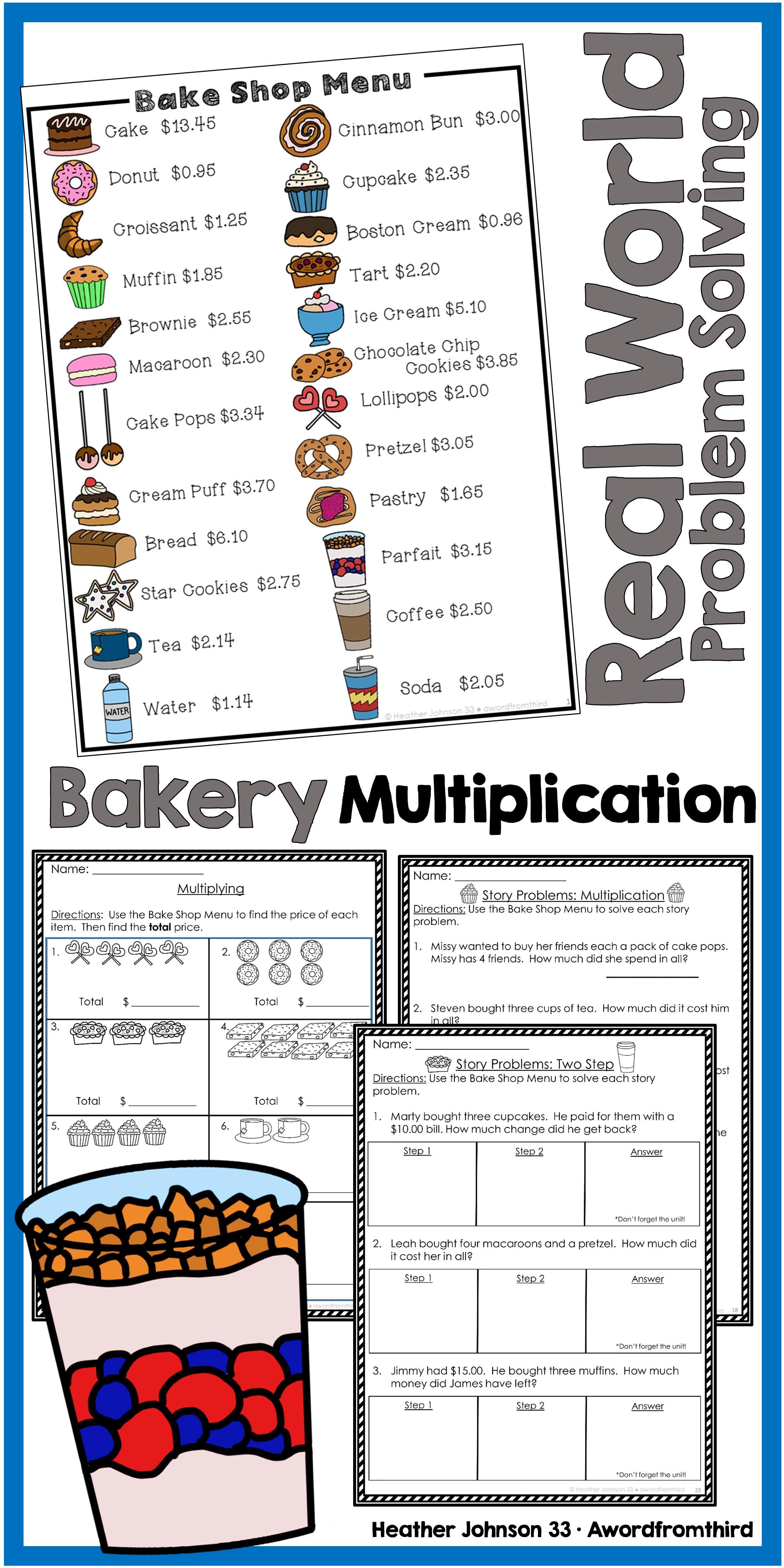 Bakery Math Multiplication Real World Word Problems Word Problems Money Word Problems Math Multiplication