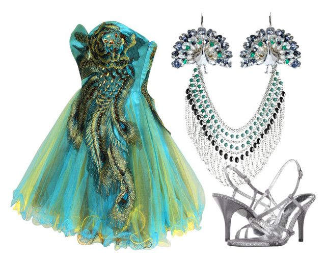 """""""Simple Peacock"""" by jewel-jyl on Polyvore featuring Avenue, Amanda Coleman and Adrianna Papell"""