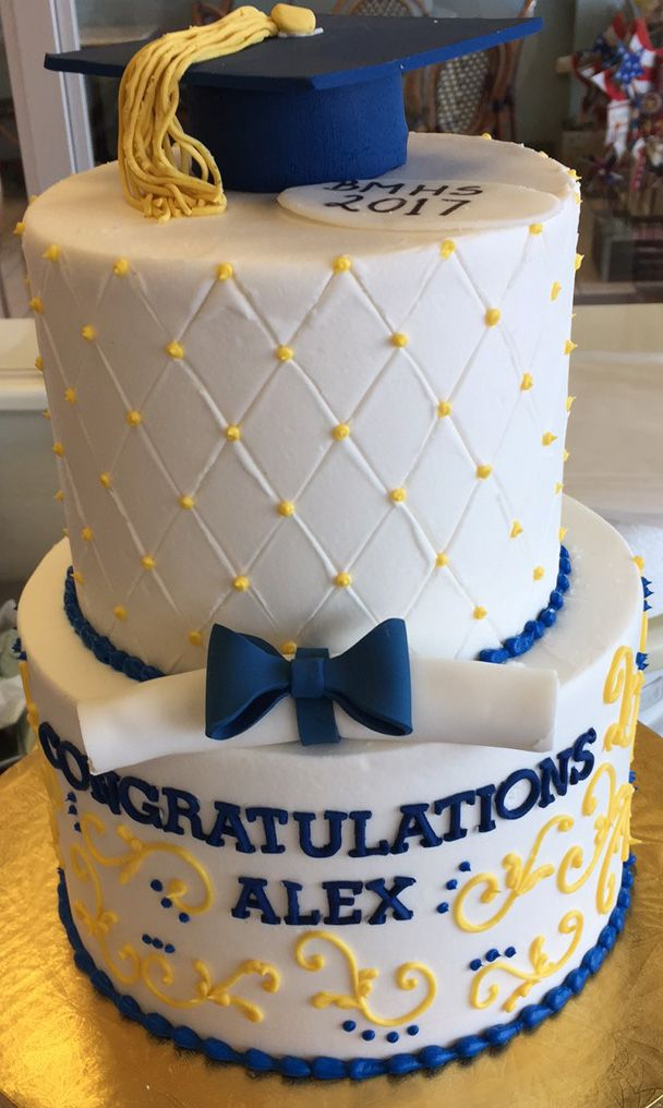 Blue And Yellow Graduation Cake Cake 021 Graduation Cakes
