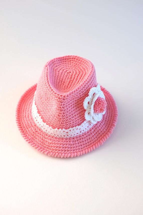Crochet Baby Toddler Girls Fedora Hat Shower Gift Photo Props New Baby Girl  Cotton Fedora Infant Hat Pink Fedora Hat Cute Hats by Mila Crocheted from  100% ... a19b8997189f