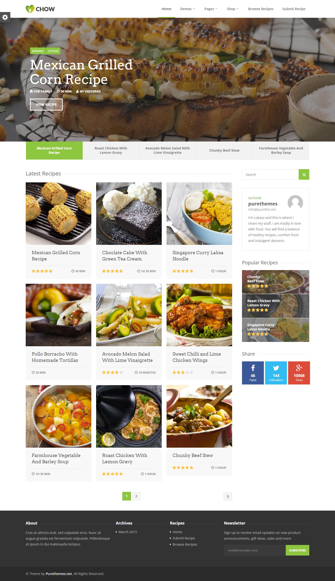 Chow recipe food wordpress theme wordpress chow recipe food wordpress theme forumfinder Image collections