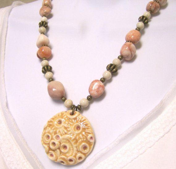 Porcelain Pendant Necklace  Pink Marble  by BeadsByEvelyn on Etsy, $28.50