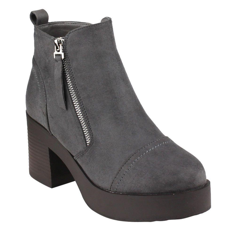Women's Beston Block Heel Ankle Boots Side Zipper Back Pull