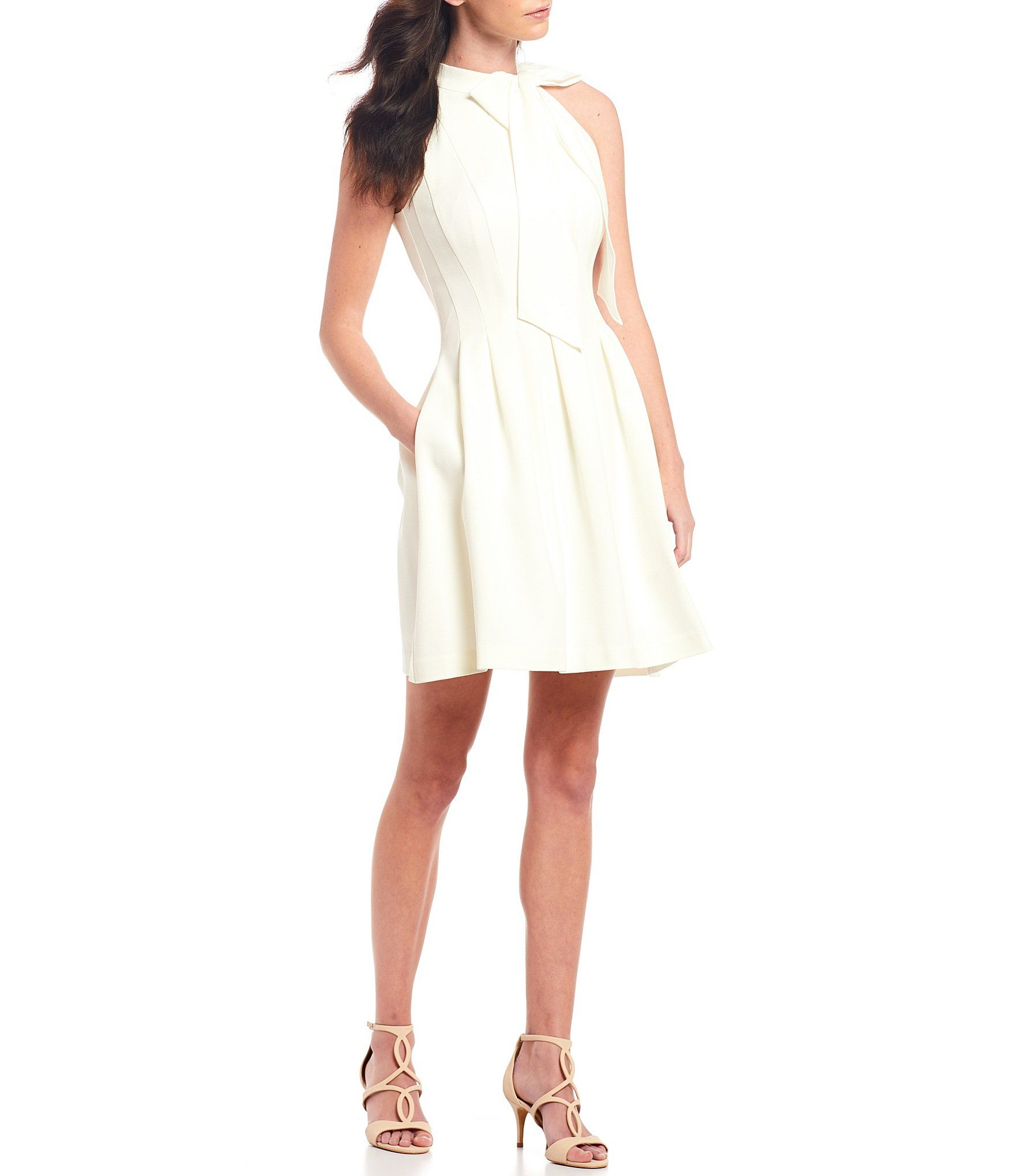 Vince Camuto Sleeveless Bow Neck Fit And Flare Dress Dillard S Fit And Flare Dress Flare Dress Casual Dresses [ 2040 x 1760 Pixel ]