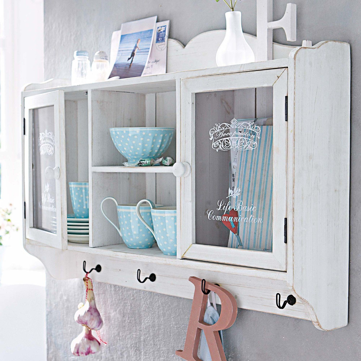 Shabby Chic Wooden Wall Cabinet Antique White Finish Amazon Co
