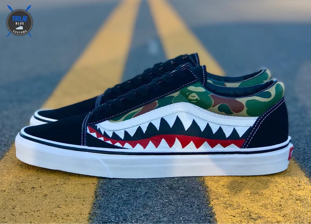 f48c18f277000f Slip On Shoes Leather. BAPE Shark custom VANS Old Skool