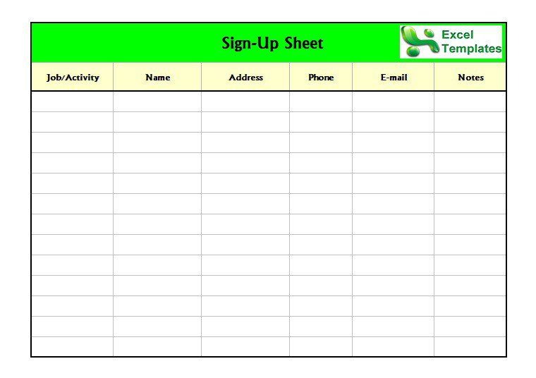 Sign In Sheet Template Excel template Pinterest Template and Pdf - sign up sheet template