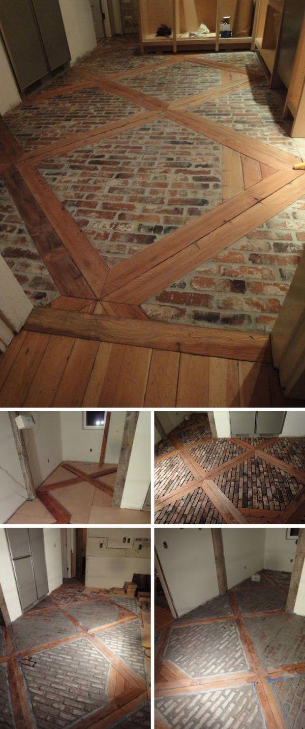Diy Wood And Brick Floor Brick Wood Brick Flooring Flooring