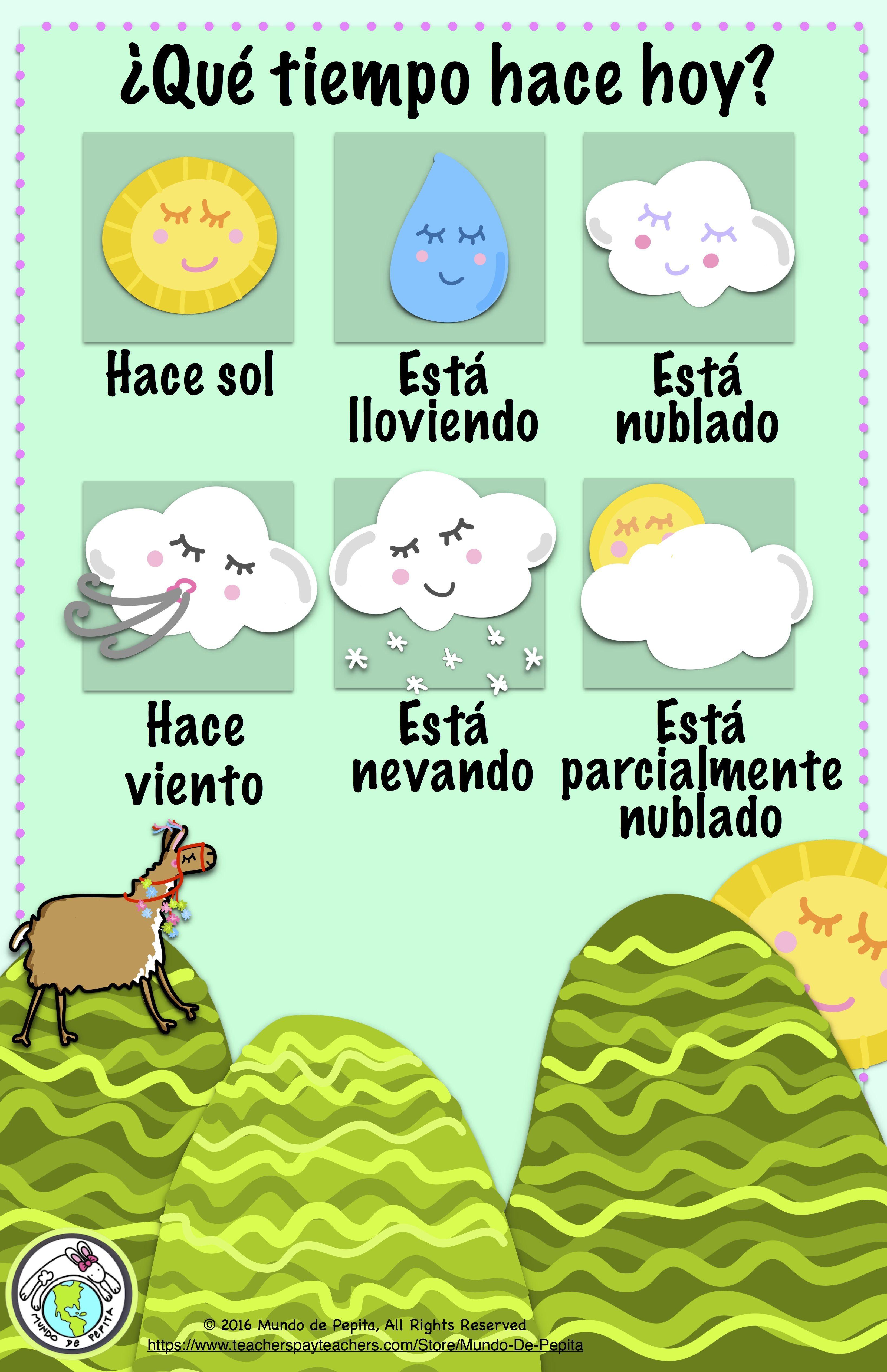 Spanish Weather Bulletin Board Kit 11 X 17 Interactive
