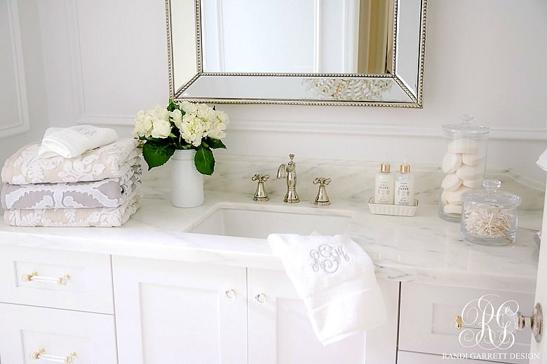 Glam Transitional Guest Bathroom Reveal - with Marble Silver and