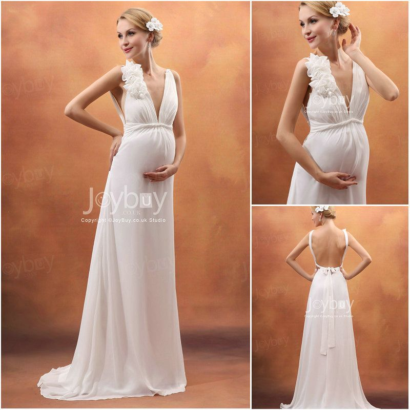 Wedding Gown For Pregnant Bride: Chiffon Sexy V Neck Flower Trimmed Ivory Wedding Dress For