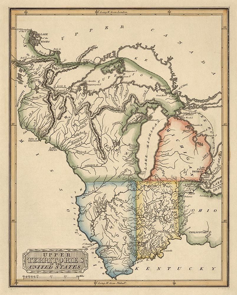 Antique Map of the Upper Midwest US c1817 187x15 EXPLORE