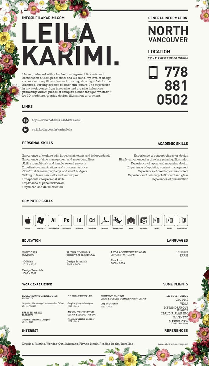 graphic design cv english