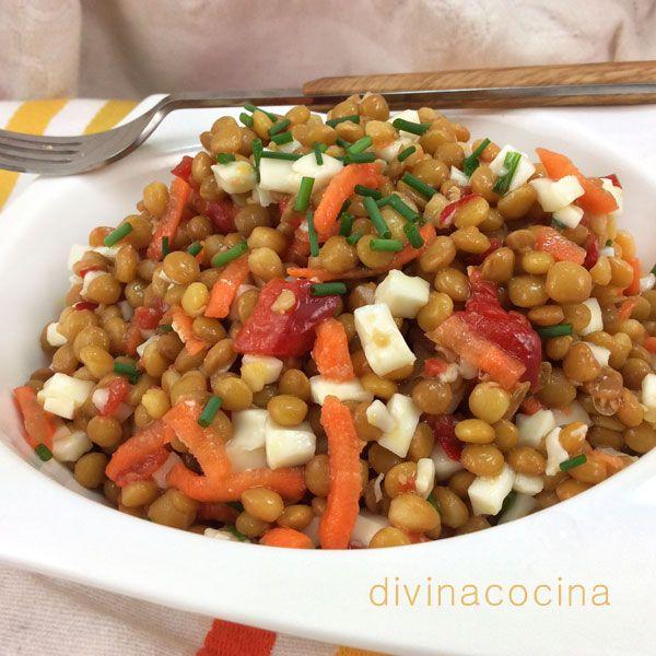 Esta sencilla receta de ensalada de lentejas es la que yo for Cocinar lentejas con verduras
